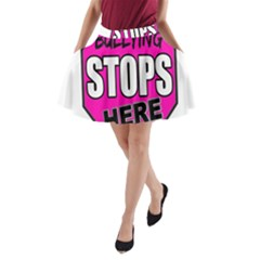 Bullying Stops Here Pink Sign A Line Pocket Skirt