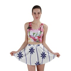 Geometric Flower Seamless Repeating Pattern With Curvy Lines Mini Skirt