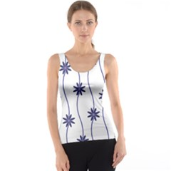 Geometric Flower Seamless Repeating Pattern With Curvy Lines Tank Top