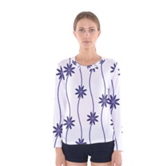 Geometric Flower Seamless Repeating Pattern With Curvy Lines Women s Long Sleeve Tee
