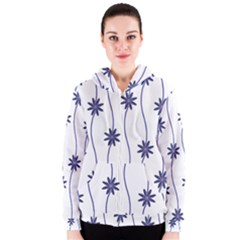 Geometric Flower Seamless Repeating Pattern With Curvy Lines Women s Zipper Hoodie