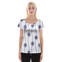 Geometric Flower Seamless Repeating Pattern With Curvy Lines Women s Cap Sleeve Top