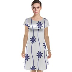 Geometric Flower Seamless Repeating Pattern With Curvy Lines Cap Sleeve Nightdress