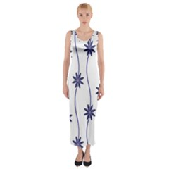 Geometric Flower Seamless Repeating Pattern With Curvy Lines Fitted Maxi Dress