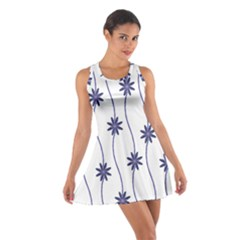 Geometric Flower Seamless Repeating Pattern With Curvy Lines Cotton Racerback Dress