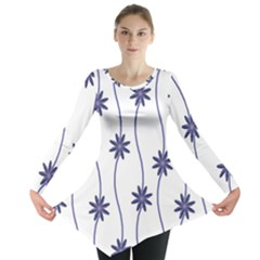 Geometric Flower Seamless Repeating Pattern With Curvy Lines Long Sleeve Tunic