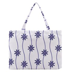 Geometric Flower Seamless Repeating Pattern With Curvy Lines Medium Zipper Tote Bag