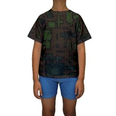 Circuit Board A Completely Seamless Background Design Kids  Short Sleeve Swimwear