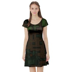 Circuit Board A Completely Seamless Background Design Short Sleeve Skater Dress