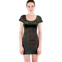 Circuit Board A Completely Seamless Background Design Short Sleeve Bodycon Dress