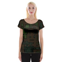 Circuit Board A Completely Seamless Background Design Women s Cap Sleeve Top
