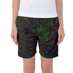 Circuit Board A Completely Seamless Background Design Women s Basketball Shorts
