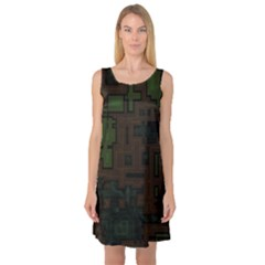 Circuit Board A Completely Seamless Background Design Sleeveless Satin Nightdress