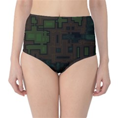 Circuit Board A Completely Seamless Background Design High-Waist Bikini Bottoms