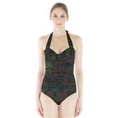 Circuit Board A Completely Seamless Background Design Halter Swimsuit