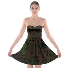 Circuit Board A Completely Seamless Background Design Strapless Bra Top Dress