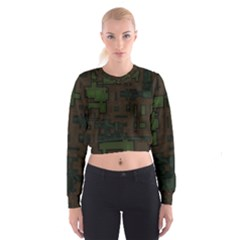 Circuit Board A Completely Seamless Background Design Women s Cropped Sweatshirt