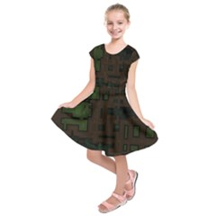 Circuit Board A Completely Seamless Background Design Kids  Short Sleeve Dress