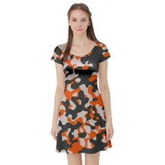 Camouflage Texture Patterns Short Sleeve Skater Dress