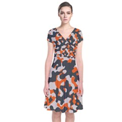 Camouflage Texture Patterns Short Sleeve Front Wrap Dress