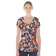 Camouflage Texture Patterns Short Sleeve Front Detail Top