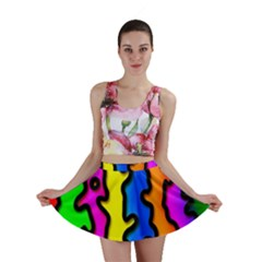 Digitally Created Abstract Squiggle Stripes Mini Skirt