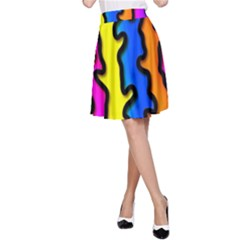 Digitally Created Abstract Squiggle Stripes A-Line Skirt