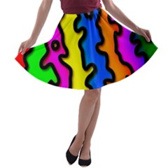Digitally Created Abstract Squiggle Stripes A Line Skater Skirt