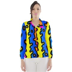 Digitally Created Abstract Squiggle Stripes Wind Breaker (Women)