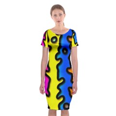 Digitally Created Abstract Squiggle Stripes Classic Short Sleeve Midi Dress