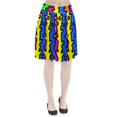 Digitally Created Abstract Squiggle Stripes Pleated Skirt