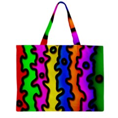 Digitally Created Abstract Squiggle Stripes Medium Zipper Tote Bag