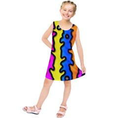 Digitally Created Abstract Squiggle Stripes Kids  Tunic Dress