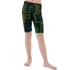 A Completely Seamless Background Design Circuit Board Kids  Mid Length Swim Shorts