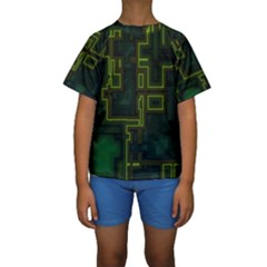 A Completely Seamless Background Design Circuit Board Kids  Short Sleeve Swimwear