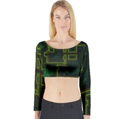 A Completely Seamless Background Design Circuit Board Long Sleeve Crop Top