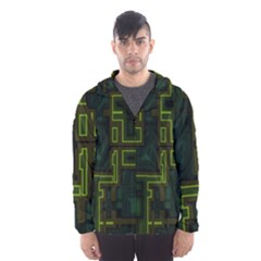 A Completely Seamless Background Design Circuit Board Hooded Wind Breaker (men)