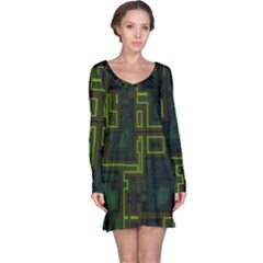 A Completely Seamless Background Design Circuit Board Long Sleeve Nightdress