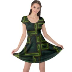 A Completely Seamless Background Design Circuit Board Cap Sleeve Dresses