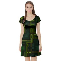 A Completely Seamless Background Design Circuit Board Short Sleeve Skater Dress