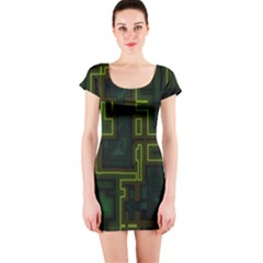 A Completely Seamless Background Design Circuit Board Short Sleeve Bodycon Dress