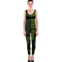 A Completely Seamless Background Design Circuit Board OnePiece Catsuit
