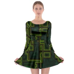 A Completely Seamless Background Design Circuit Board Long Sleeve Skater Dress