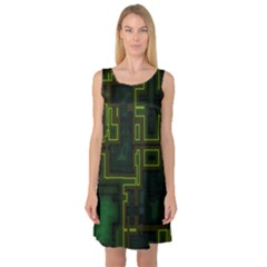 A Completely Seamless Background Design Circuit Board Sleeveless Satin Nightdress