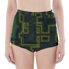 A Completely Seamless Background Design Circuit Board High Waisted Bikini Bottoms