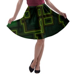 A Completely Seamless Background Design Circuit Board A Line Skater Skirt