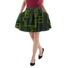 A Completely Seamless Background Design Circuit Board A-Line Pocket Skirt