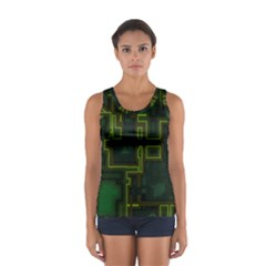 A Completely Seamless Background Design Circuit Board Women s Sport Tank Top