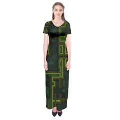 A Completely Seamless Background Design Circuit Board Short Sleeve Maxi Dress