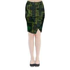 A Completely Seamless Background Design Circuit Board Midi Wrap Pencil Skirt